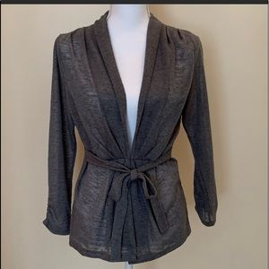 The Limited size Medium gray tie-back Cardigan